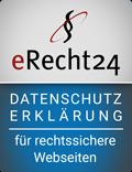 Siegel Datenschutzerklaerung in blau